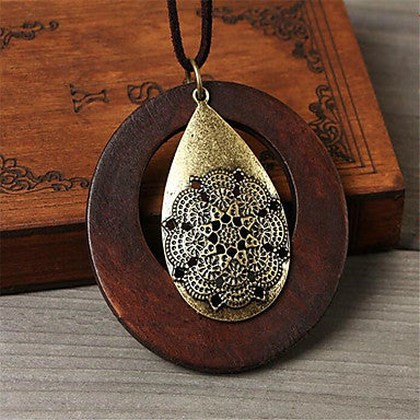 Bohemian Style Wooden Pendant Necklace