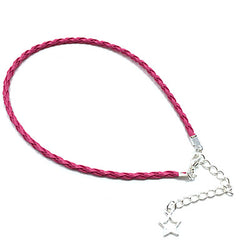 Thin Pink Braided Leather Bracelet With Star Pendant