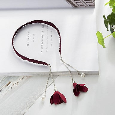 Burgundy Tassel Flower Headband