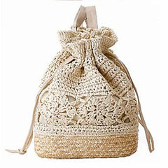 Boho Chic Straw and Fabric Drawstring Backpack