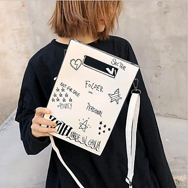 White Handwritten Font and Doodle Art Shoulder Bag With Detachable Straps