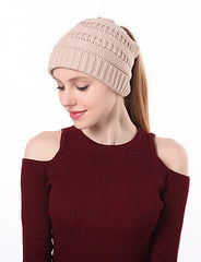 Stylish Solid Colored Cotton Blend Ponytail Beanie Hat