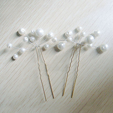 Imitation Pearl Headpiece Hair Pins (6 Pins)