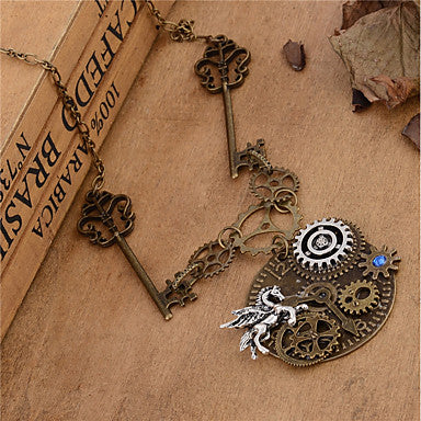 Steampunk Unicorn and Key Necklace