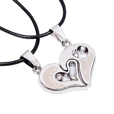 Stainless Steel and Leather Fashion Heart Pendant Necklace For Couples