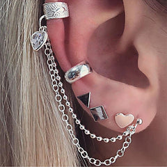 Geometric Studs, Helix and Conch Ear Cuff Chain Earrings For One Ear