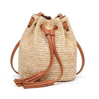 Straw Woven Bag With Brown Drawstring and Tassels (Backpack)