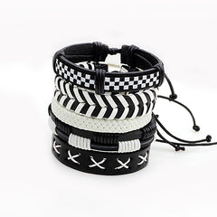 5 piece leather woven black and white adjustable checkered and stripe patterned stackable bracelets