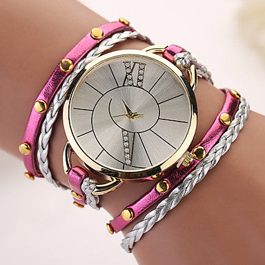 Bohemian Swirl Analog Rivet Wrap Bracelet Watch