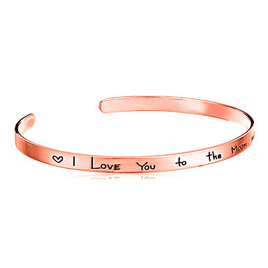 Minimalist I Love You To The Moon And Back Love Quote Bracelet Rose Gold