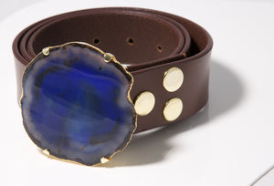 Blue agate on brown leather belt
