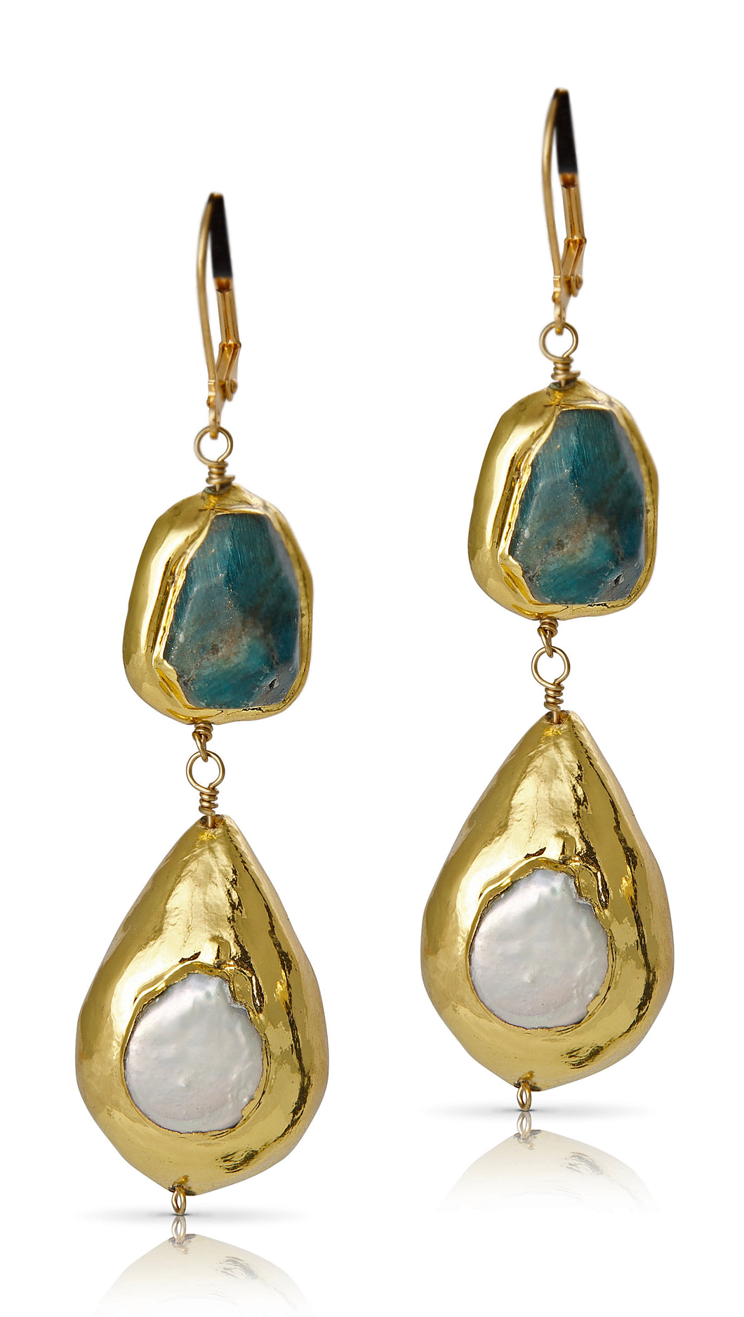 Ruth Apatite and Pearl Earrings