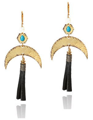 Jacy Turquoise and leather earring