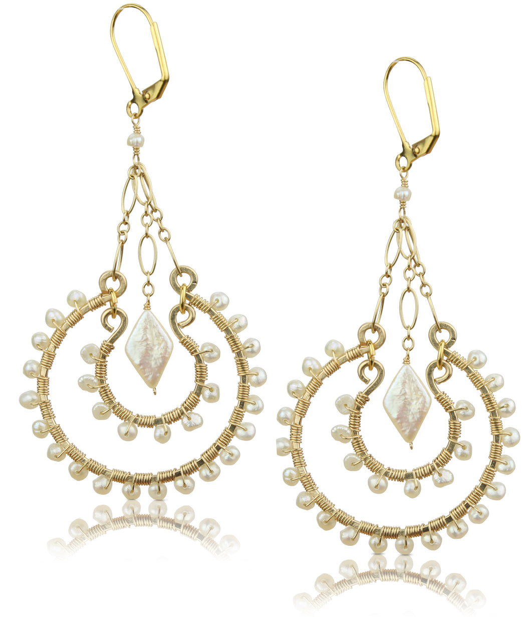 Lourdes White Pearl Earrings