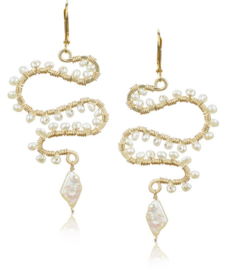 Osiris White Pearl Gold Fill Earrings