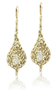 Zahav Gold White Pearl Earrings
