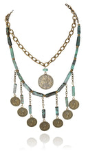 Haley tassel coin neck with Troy single coin neck