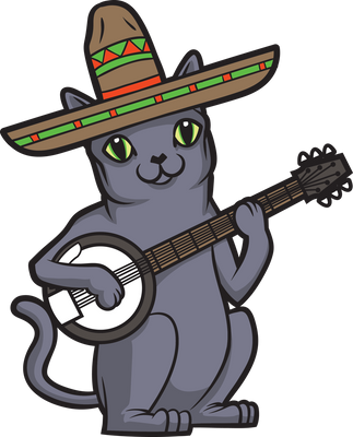 Russian Blue Sombrero Banjo Cat