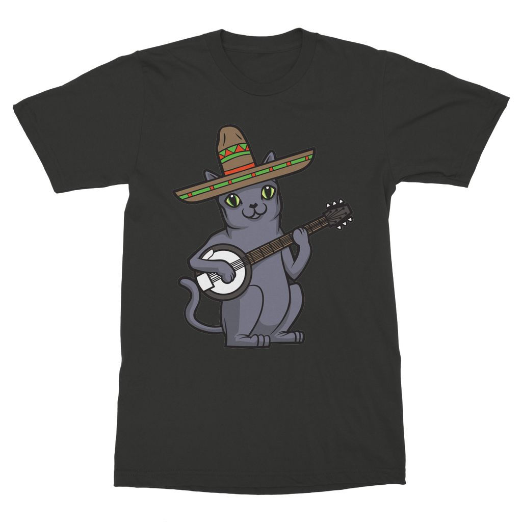 Russian Blue Sombrero Banjo Cat T-Shirt