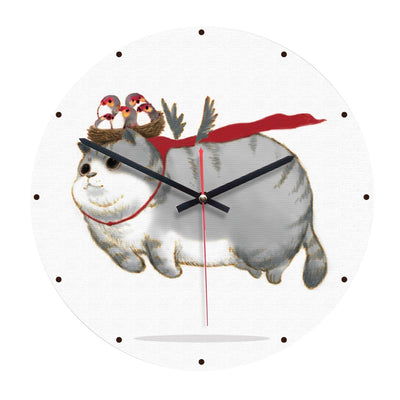 Funny Fat Festive Cat Wall Clock