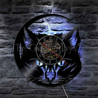 Black Cat Vinyl Record LP  Glowing Led Lamp