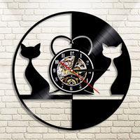 Vintage LED Love Cats Wall Clock