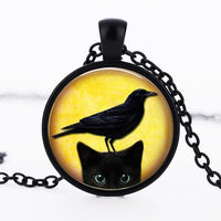 Black Cat And Crow Necklace Pendant
