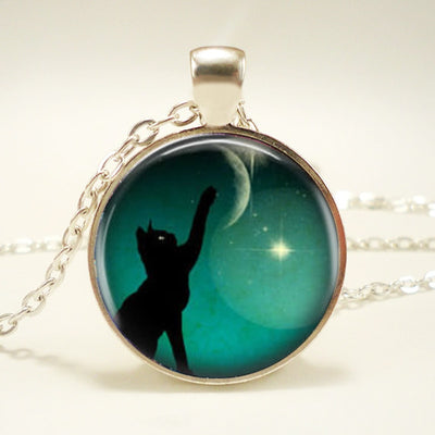 Black Cat Moon Touch Necklace