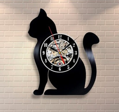 Vinyl Record Modern Cat Wall Clock