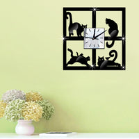 3-D Black Cat Wall Clock