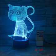 3-D Cat 7 Color Changing LED Night Light USB Charging Lamp
