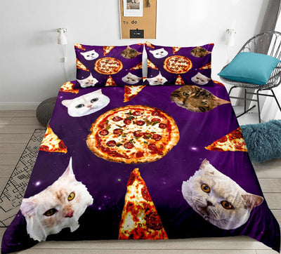 3-D Pizza Cats Duvet Cover Set