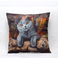 3-D Gray Cat Sofa Pillowcase