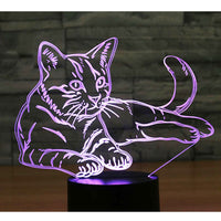3D LED Night Light Alert Cat with 7 Colors Light