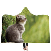 3-D Cute Kitten Hooded Blanket