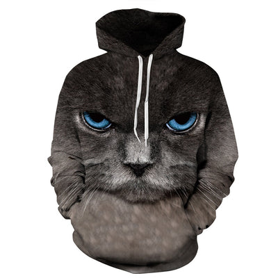 Grey Cat Blues 3D Hoodie