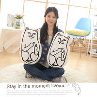3-D White Middle Finger Cat Smile Cushions