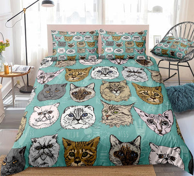 Cartoon Cat Bedding Set for Kids