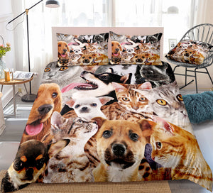 Cuteness Overload Cat And Dog Duvet Cover Set
