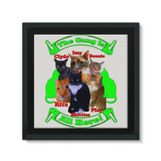 The Gang Is All Here 6 Cats Framed Canvas