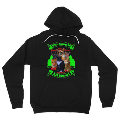 The Gang Is All Here 6 Cats Fleece Pullover Hoodie