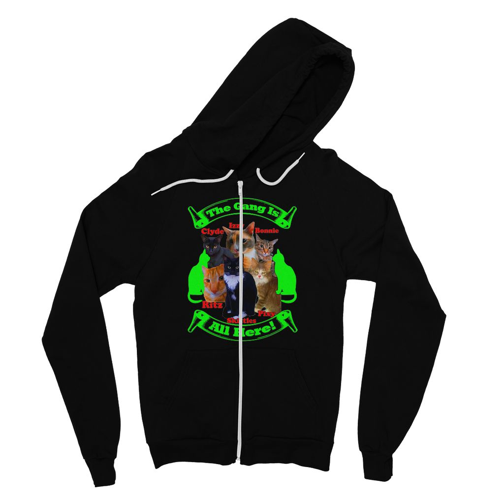 The Gang Is All Here 6 Cats Fine Jersey Zip Hoodie