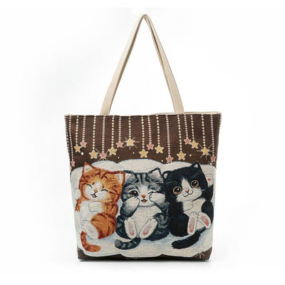 Canvas Cat Printed Tote Bags