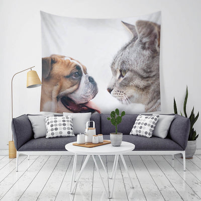 Cute Dog And Cat Wall Hanging Polyester Tapestry