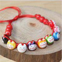 Braided Lucky Nine Cats Red and Black Rope Bracelet