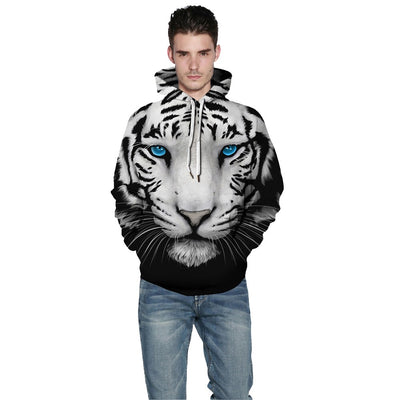 3-D Blue Eyed White Tiger Hoodie