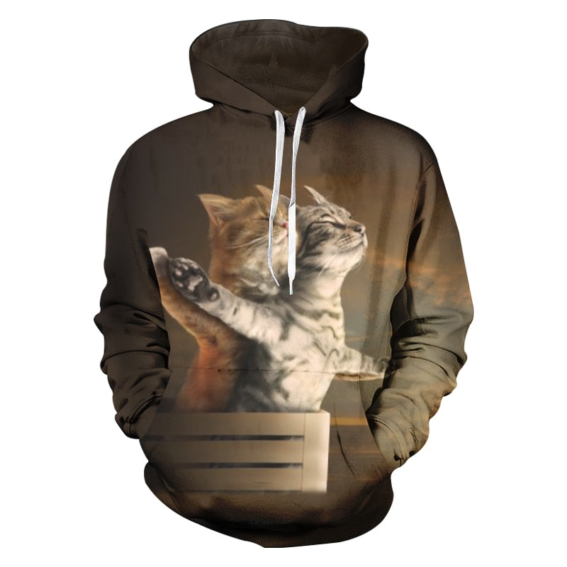 Funny Cats Titanic 3-D Hoodie