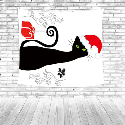Cartoon Christmas Black Cat Tapestry