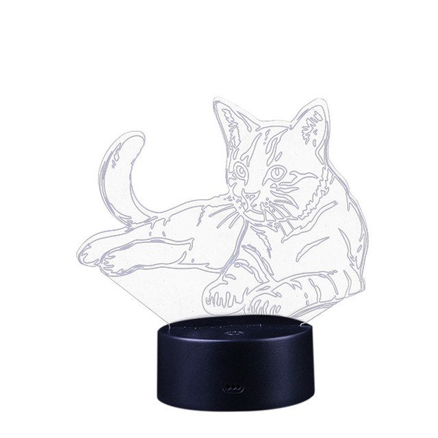 Cat 3D Night Light USB Changeable Mood Lamp