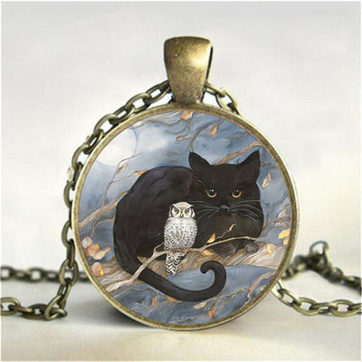 Cat And Owl Pendant Necklace